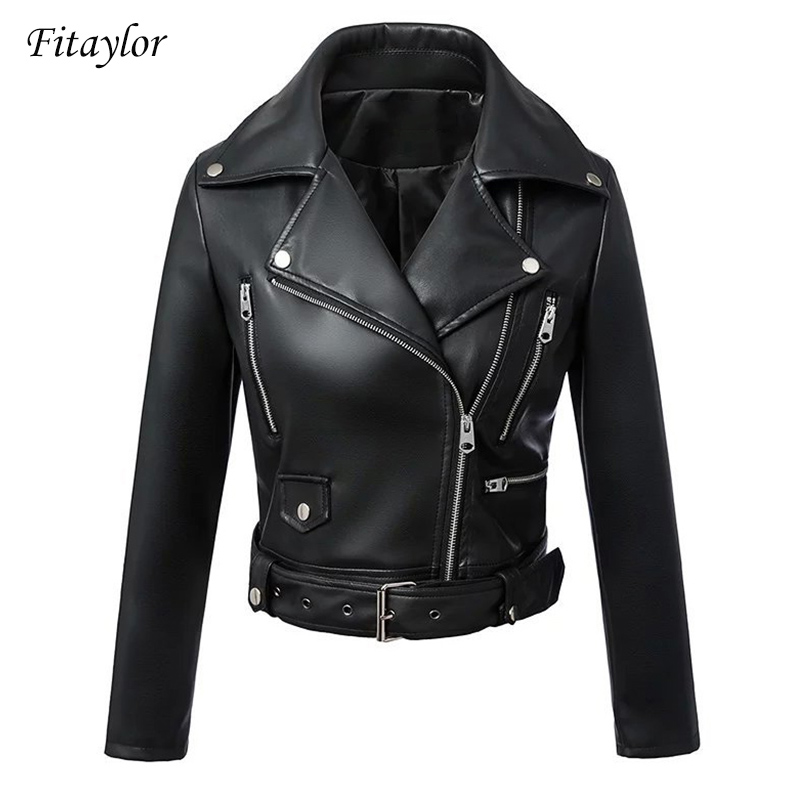 Fitaylor Black Faux Leather Jacket Women Spring Autumn Short Soft Pu Leather Jackets With Belt Zipper Moto Biker Coat