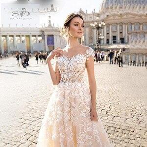 Image 2 - SODigne תחרה boho 2020 קו הכלה שמלות אלגנטי & פיות חתונה שמלות תפור לפי מידה חתונה שמלות כלה