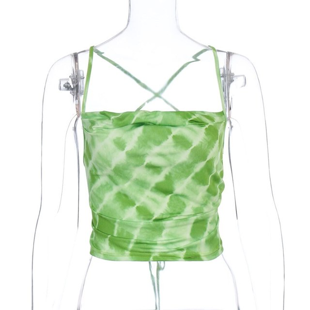New Women Croptops Sleeveless Tie Dye Backless Bandaged Green Sexy Crop Tops Summer Fashion Streetwear Outfits Camis Tank Tops 5