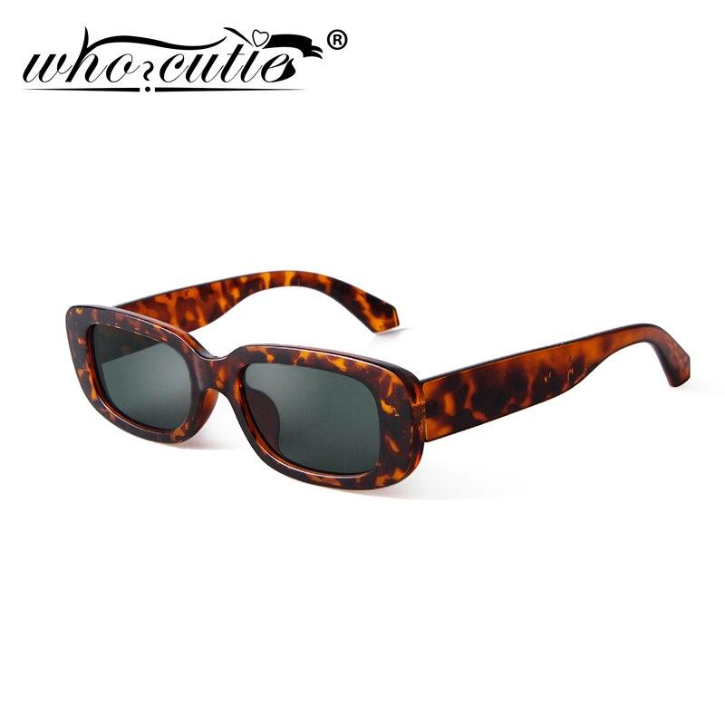 2020 Retro Narrow Rectangle Sunglasses Women Brand Design Vintage Tortoiseshell Frame Green Lens 90S Sun Glasses Shades S191