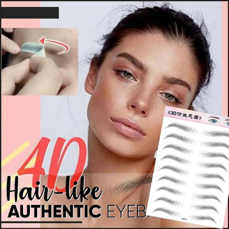 9 Pair 3D Stick-On Eyebrows Sticker Eye Brow Waterproof Longlasting Makeup Decal For Man Women