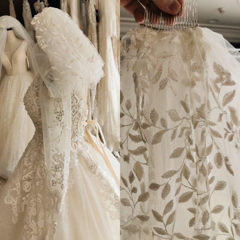 Short veil 3 layers with metal comb and shining powder bridal wedding dress headpiece