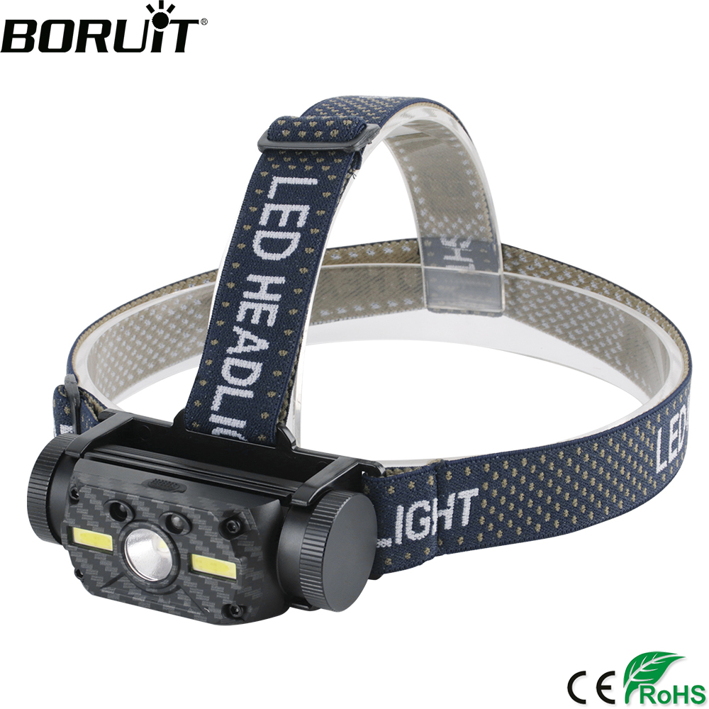 BORUiT B34 IR Motion Sensor Headlamp XM-L2+2*COB LED Max.4000LM Headlight 21700/18650 Rechargeable Head Torch Camping Hunting