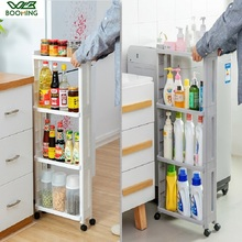 WBBOOMING Kitchen Storage Rack Fridge Side Shelf 3 and 4 Layer Removable With Wheels Bathroom Organizer Shelf Gap Holder