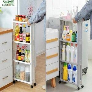 Image 1 - WBBOOMING Kitchen Storage Rack Fridge Side Shelf 3 and 4 Layer Removable With Wheels Bathroom Organizer Shelf Gap Holder