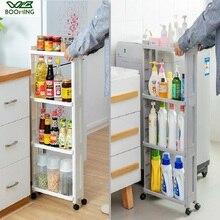 Wbbooming prateleira de armazenamento, prateleira lateral de geladeira 3 e 4 camadas removível com rodas organizador do banheiro