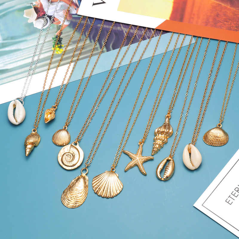 2019 Fashion Natural Sea Conch Shell Ocean Starfish Pendent Necklace Summer Gold Chain Cowrie Seashell Beach Summer Jewelry