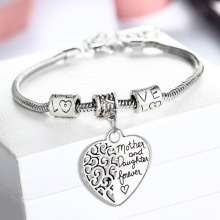 Регулируемый мать и дочь навсегда любовь Жесткий браслет в виде сердца цепи