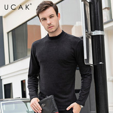 UCAK Brand Thin Sweaters Men O-Neck Solid Decorating Casual 2020 NEW Fashion Style Streetwear Spring Autumn Men Sweater U1057