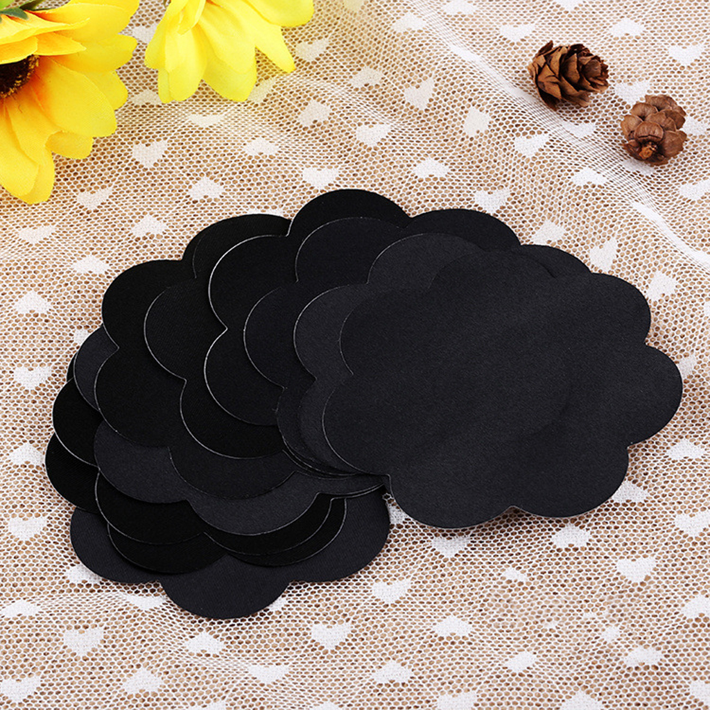 40x Satin Black Flower Breast Cover Sticker Bra Pad Patch Disposable