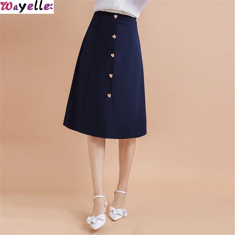 2019 Wayelle Autumn Skirt New Brand Women's Love Single Breasted A skirt Retro Wild Woven skirt Elegant Clothes