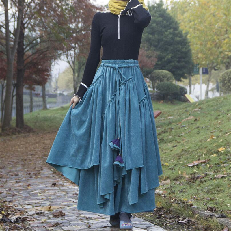 Autumn Winter A-line Corduroy Long Skirts Womens Maxi Skirt Female Retro Ethnic Style High Waist Skirt Elegant Office Lady Skirt