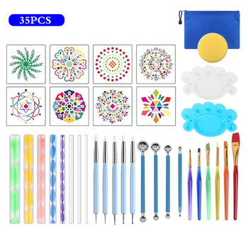 35 sztuk Mandala rozsianych zestawy narzędzi narzędzia do malowania zestawy narzędzi pędzle paleta malarska pędzle malarskie malowanie kamieni płótno skały tkaniny Art tanie i dobre opinie Acrylic Dotting Tool