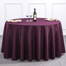 Dobby Round Tablecloth Wine Red/White/Beige/Red/Purple Hotel Table Cloth Restaurant Dining Cover for Home Decor