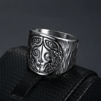 Norse Mythology Goddes Hel Ring Viking Hela Runes Stainless Steel Band Celtics Amulet Pagan Jewelrys image