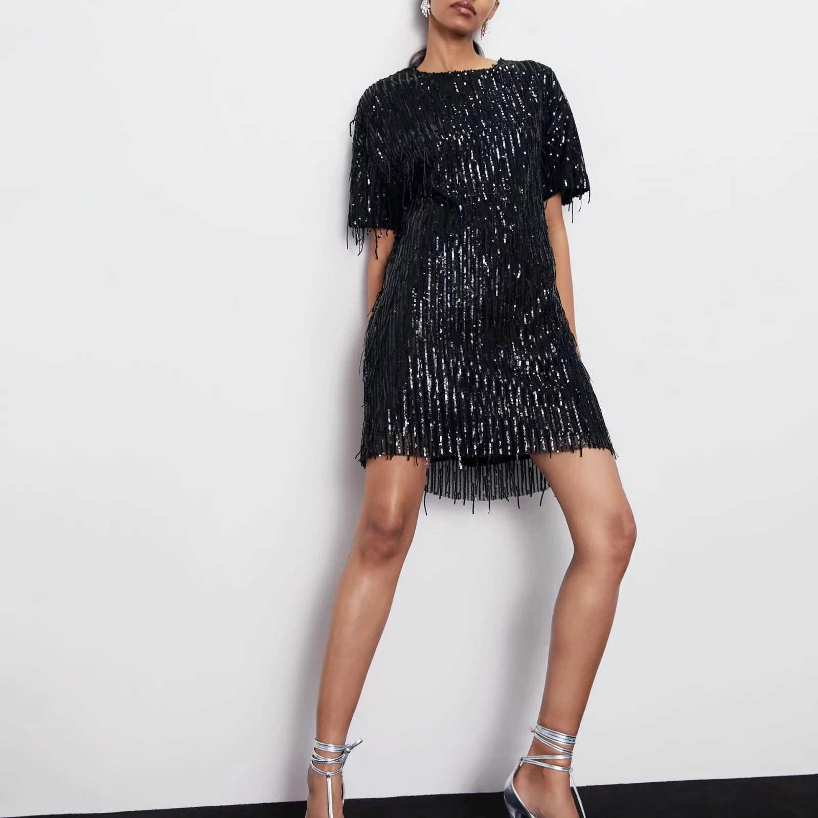 ZA kobiety ubierają 2019 błyszczącą frędzlami jasną elegancką damską zieloną czarną streetwear seksowną mini klubową sukienkę