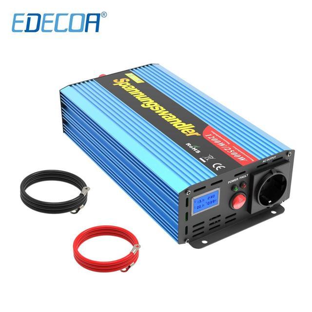 Edecoa 1200W 2500W Gemodificeerde Sinus Omvormer Dc 12V Naar Ac 220V 230V 240V off Grid Omvormer Converter 1000W 1500W