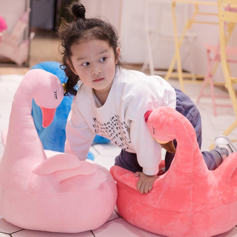 1pc 60x45cm mignon flamant rose cygne paon cygne peluche enfants apprentissage canapé chaise Mini paresseux canapé fête des enfants anniversaire cadeau de noël