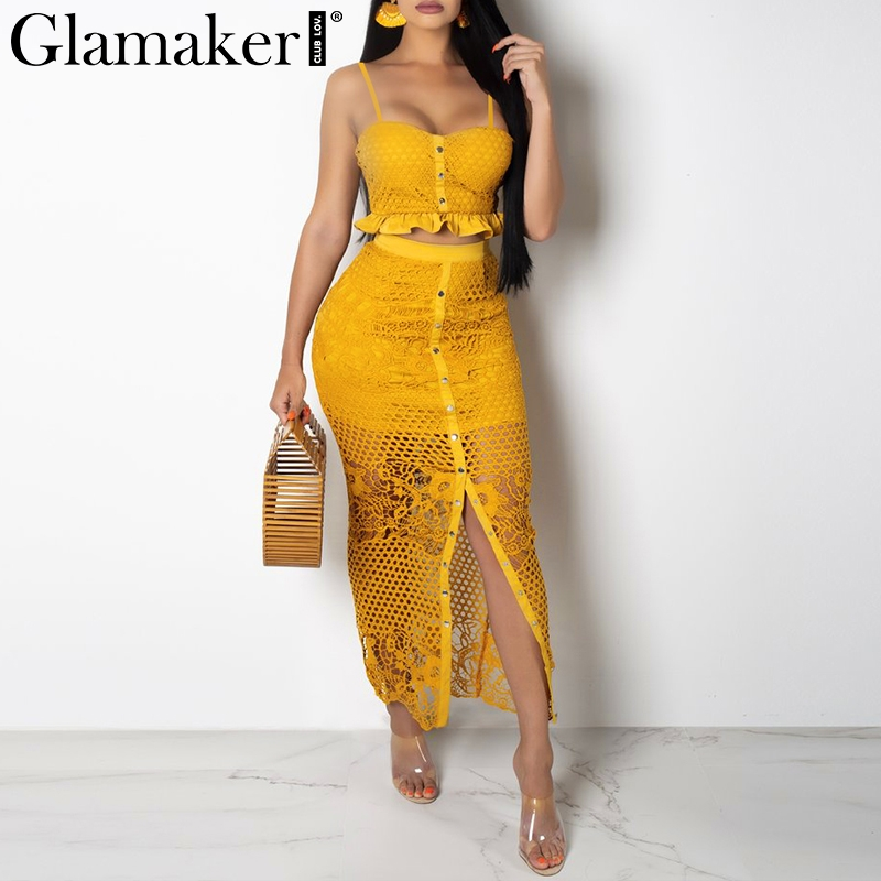 Glamaker Hollow Out Sexy Yellow Long Dress Women White Ruffle 2 Piece Maxi Dress Bodycon Split Summer Party Beach Dress Elegant