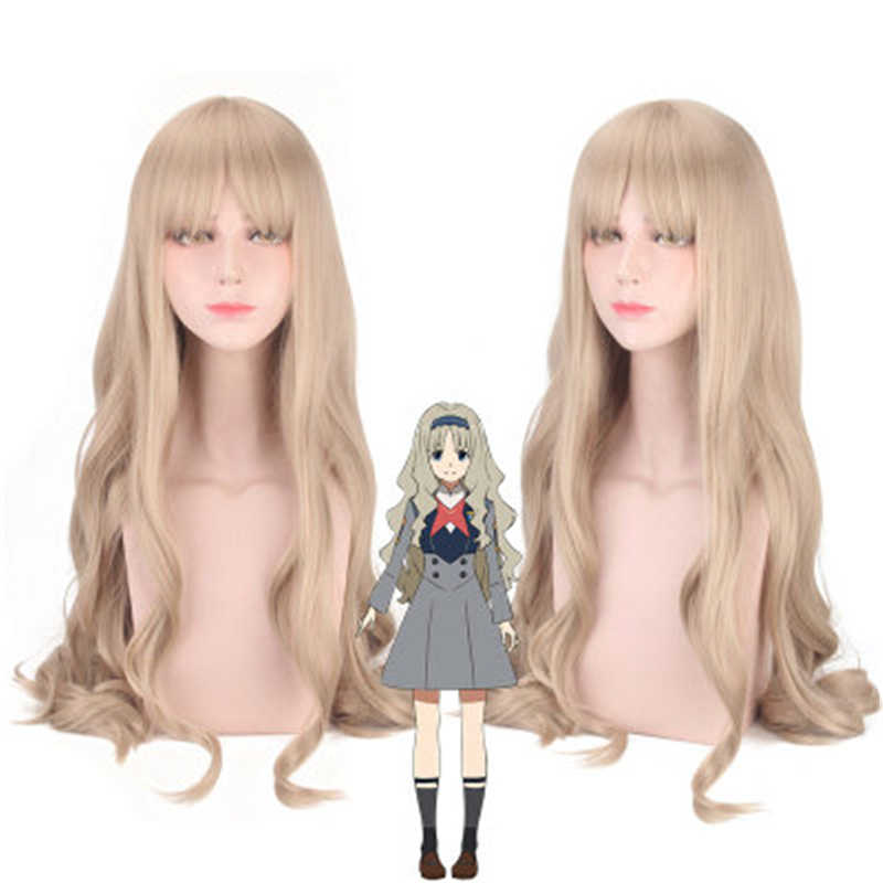 Anime CÓDIGO DE DARLING in the FRANXX 556 KOKORO Cosplay Peluca de pelo largo ondulado rizado sintético Halloween disfraz pelucas peruco + tapa de la peluca