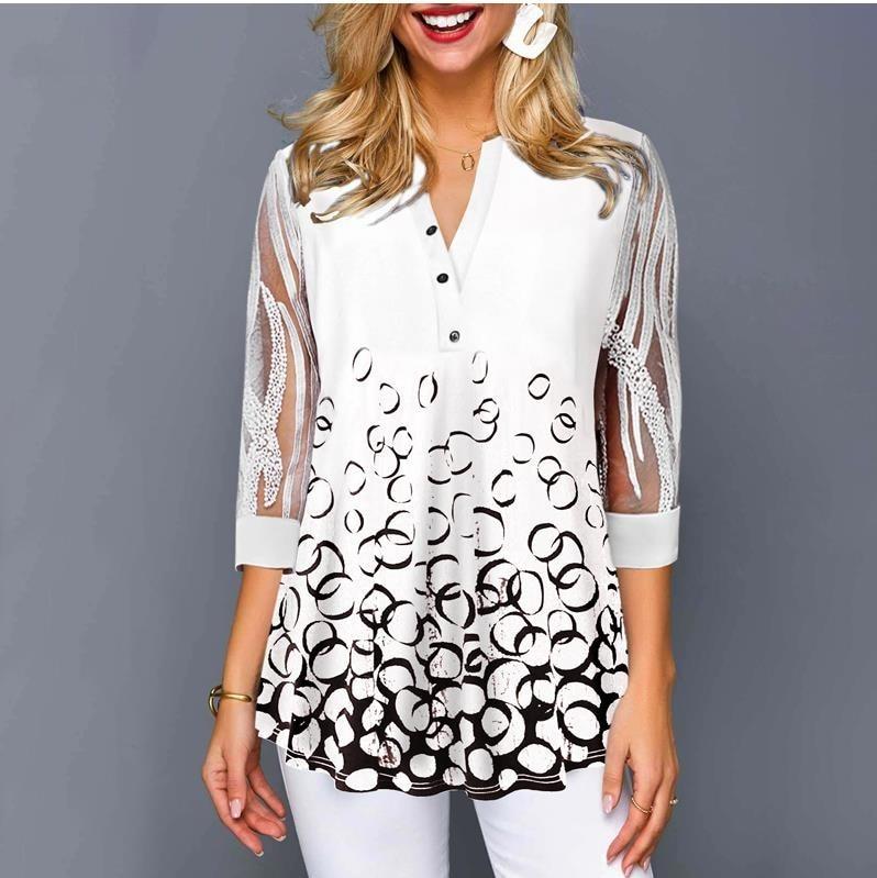 Plus Size 4xl 5XL Shirt Blouse Female 2020 Spring Summer New Tops V-neck Half Sleeve Lace Splice Print Boho Women Shirt