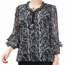 Woman Chiffon Blouse Shirt White Pink Small Stars Pattern Printing Ruffle Three Quarter Sleeve Lacing Up Knot O-neck Tops Women oblique shoulder ruffle trim knot cuff spot blouse
