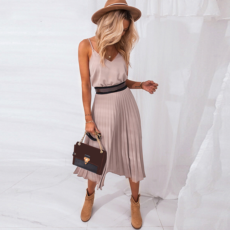 Women Spaghetti Strap Dress Chiffon V-Neck Elegant A Line Office Pleated Dresses Vintage Vestidos Sundress Ladies Party Dress