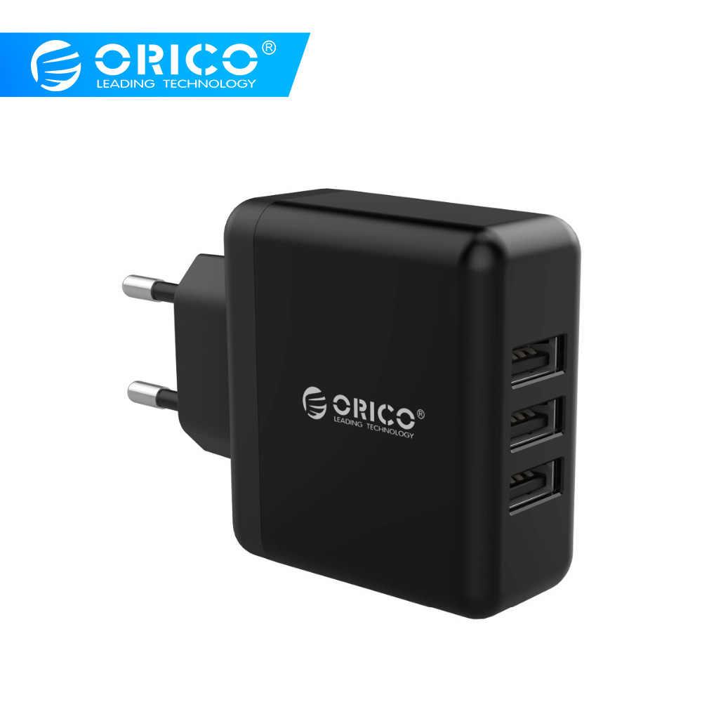 ORICO المحمولة USB شاحن السفر الجدار شاحن الاتحاد الأوروبي التوصيل مع 3 منفذ USB 5V2. 4A 15 واط ماكس شحن سريع ل شاومي سامسونج