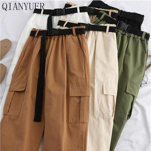 Cargo-Pants Trousers Belt Women Joggers High-Waist Casual for Streetwear with Korean