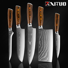 Chef-Knife Knife-Color Cooking-Tool Cleaver Paring Damascus Steel Knives-Set Boning Very-Sharp