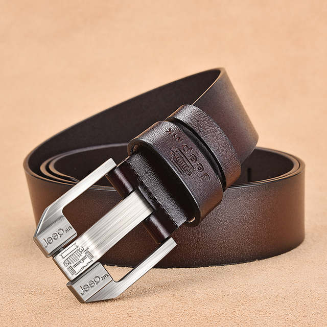 Genuine Leather High Quality Black Buckle Jeans Cowskin Casual Business Belt Cowboy waistband 4