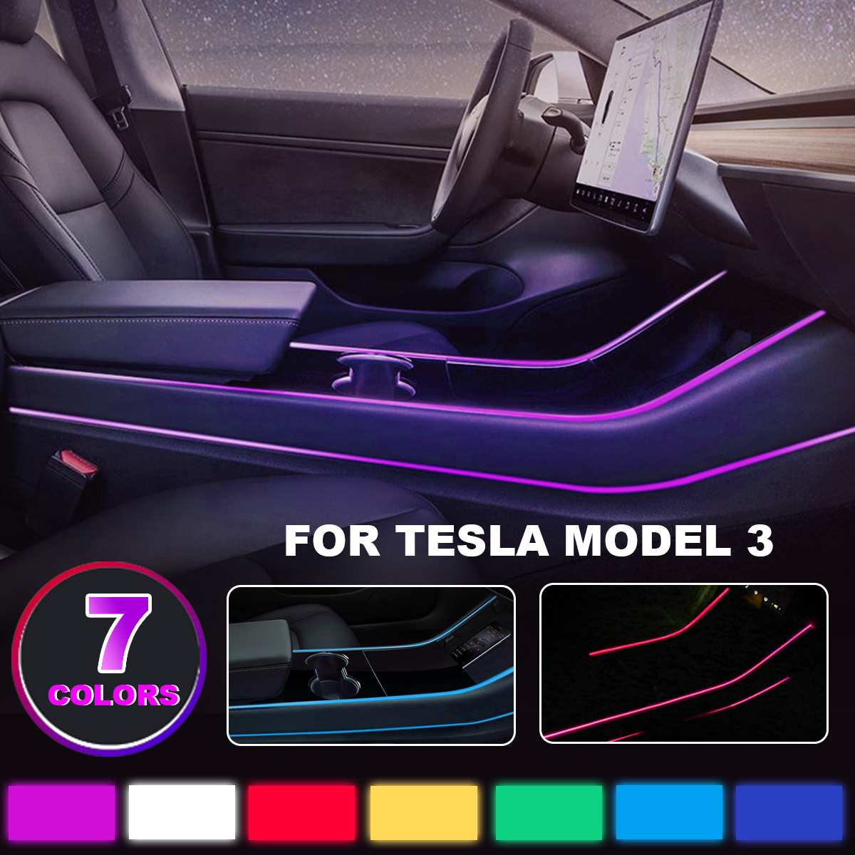 NEW Modification Car Interior Atmosphere Seven Color LED Light Modification In the Control Accessories for Tesla model 3