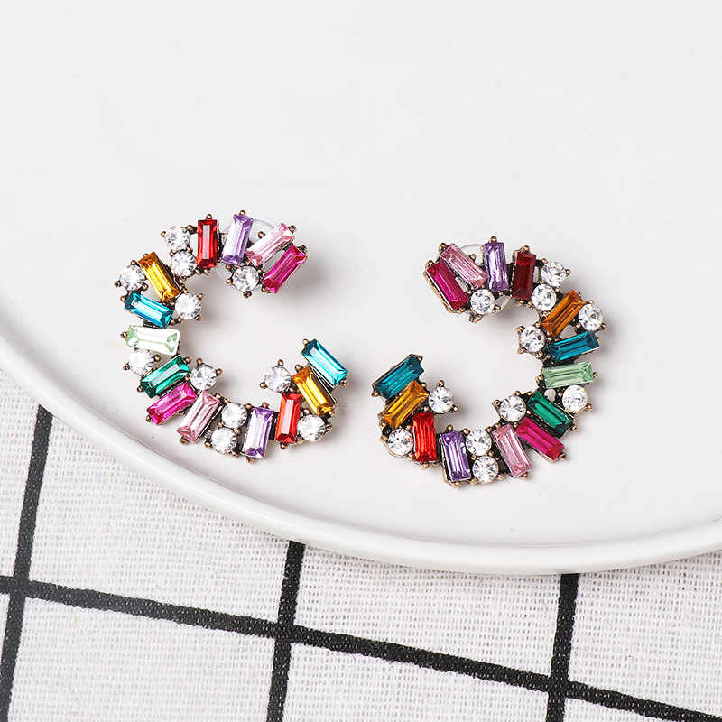 f025e27f5a84b 2019 New Trendy Boho Full Multicolor Drill Hoop Earrings For Women Simple  Geometric Crystal Half Round Earrings Earring Jewelry