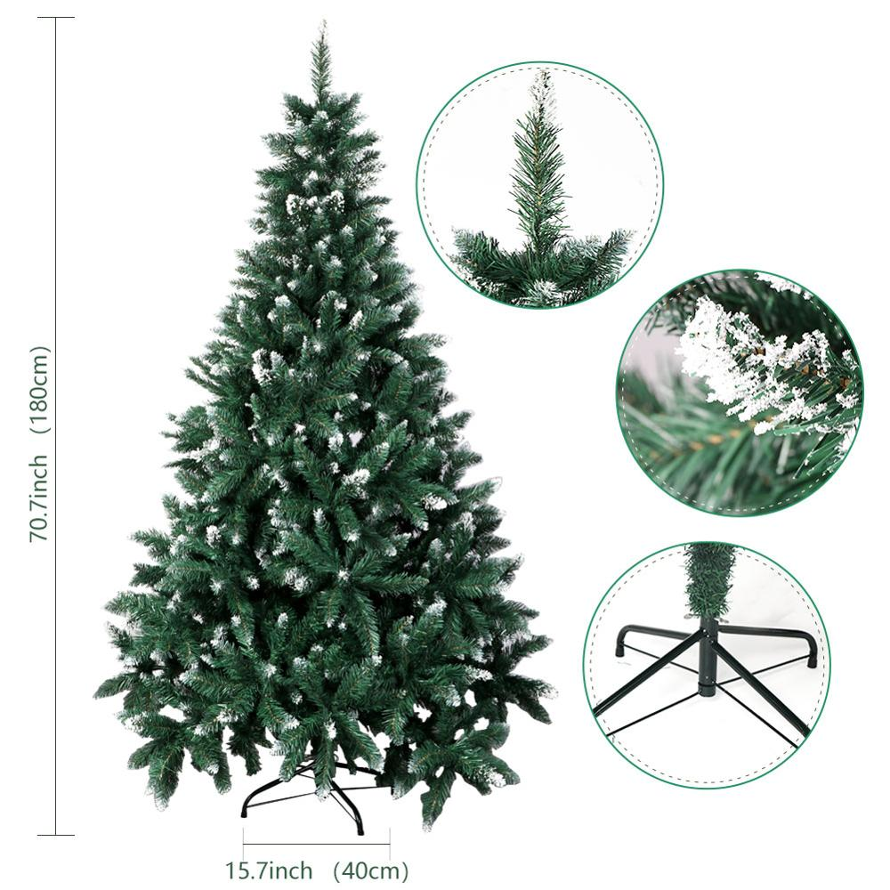 Image 4 - OurWarm 6ft Fake Artificial Flocked Christmas Tree with Snow Strong Metal Stand Christmas Decorations for Home Fire PreventionTrees   -