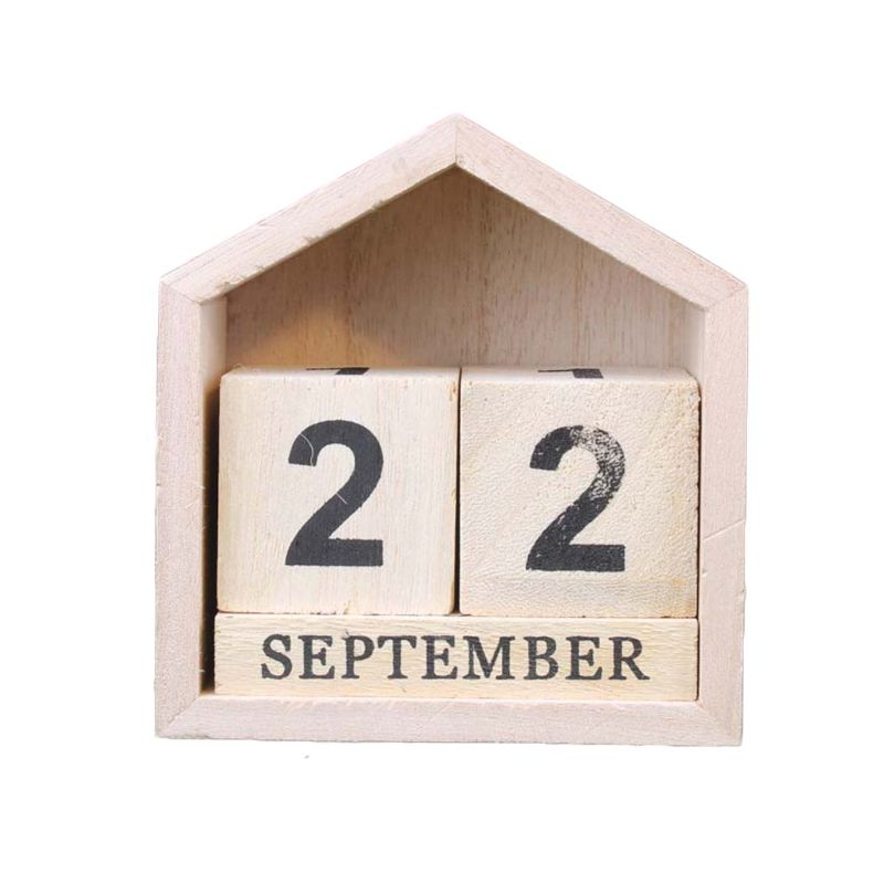 Vintage Wooden Perpetual Calendar Month Date Display Eternal Block Photography Props Desk Accessory Sweet Home Office Decoration