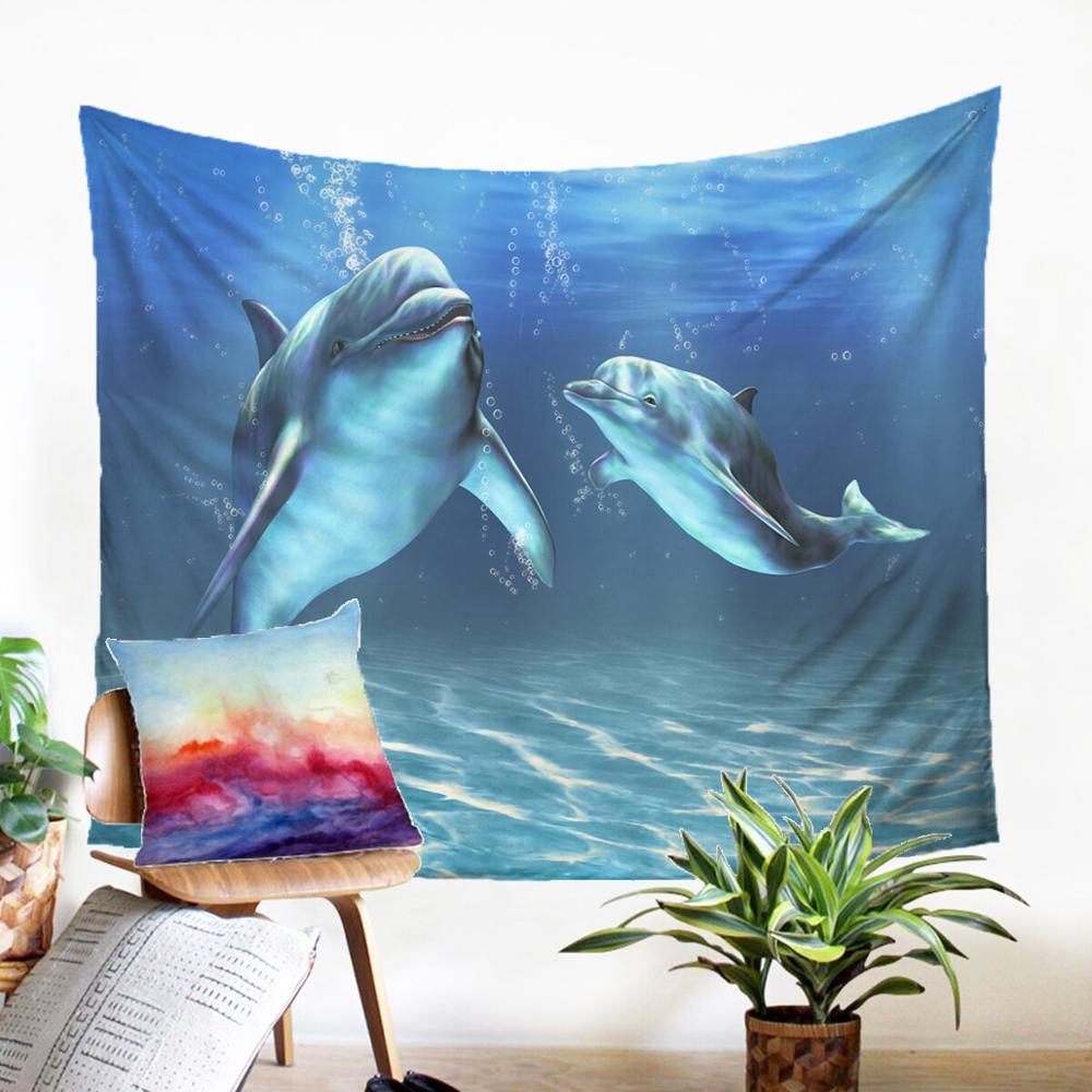 Тканевый настенный креативный ковер с принтом на стену с милым рисунком дельфинов, Современное украшение для дома, настенный гобелен