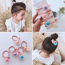 Cute transparent quicksand serve hair ring women's elastic Korean headdress children's ornament