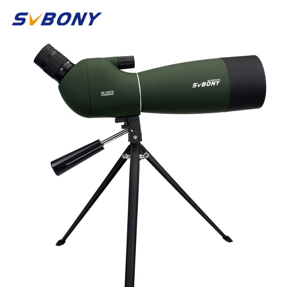 Svbony 25-75x70mm 스포팅 스코프 sv28 망원경 연속 줌 bk7 프리즘 mc 렌즈 방수 사냥 단안 + 삼각대 f9308b 사냥, 사격, 양궁, 조류 관찰