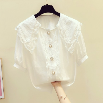 Woman White Blouse 2020 Summer New Korean Style Elegant Lace Doll Collar Short Sleeve Shirt Women's  All-match Blouses Tops