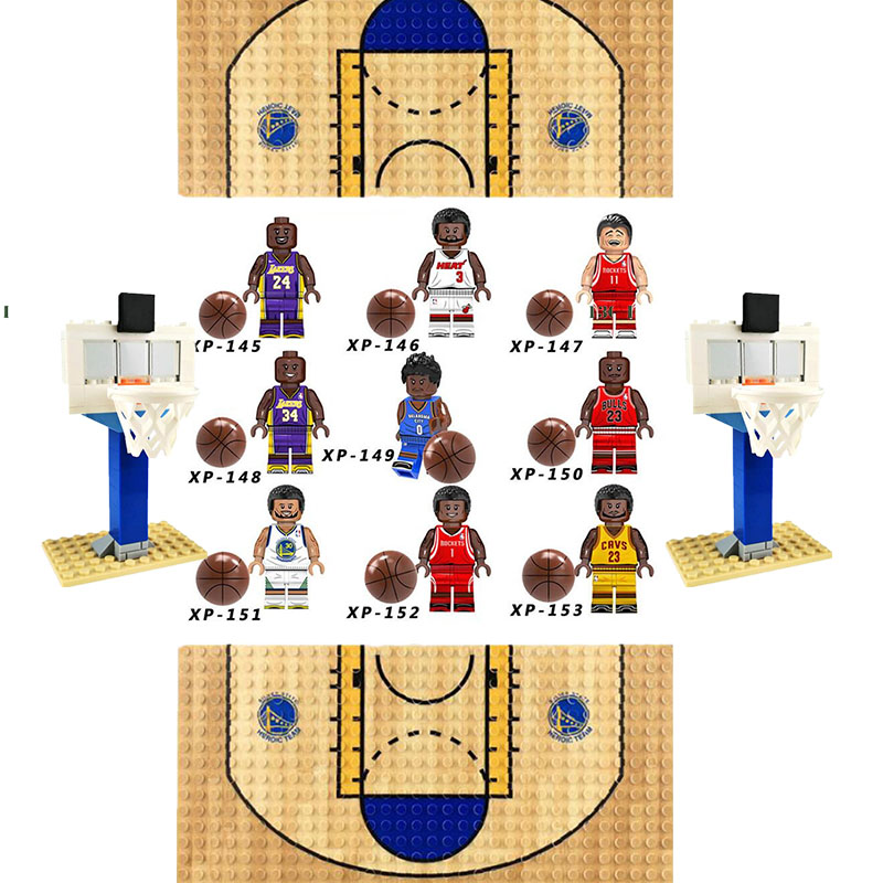New Legoinglys Basketball Football Player Figures Kobe Bryant Curry Odel Beckham Ronaldo Building Blocks Brick Toy Xmas Gifts