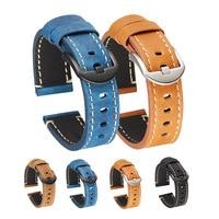Crazy Horse Textur Echtem Leder Uhrenarmbänder 22mm für Galaxy Getriebe S3 Amazfit Huawei GT 2E Ehre GS Pro Retro uhr Strap Band