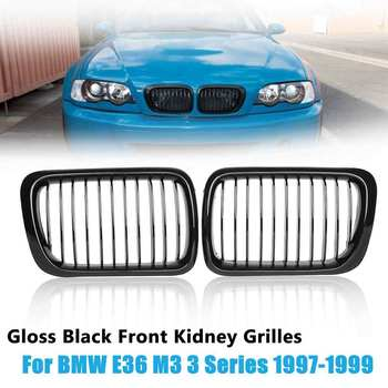 ABS 2PCS Front Kidney Grilles Car Racing Grills Gloss Black For BMW E36 M3 3 Series 1997 1998 1999 #51138195152 51138195151 image