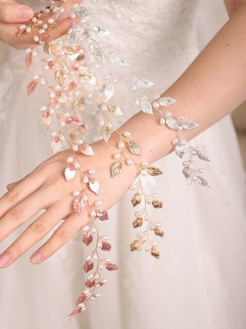Fxmimior  Bridal Handmade Leaf Pearls Headband Headpiece wedding rose gold hair vine Wedding Bridal Hair Accessories 6