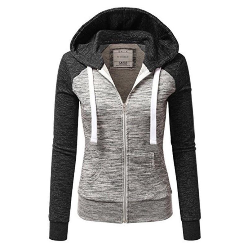2019 Women Streetwear Sweatshirt Hooded Zipper Casual Grey Long Women Zip-up Sweatsuit