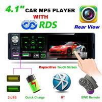 Car MP5 1din 4.1 Touch Screen Autoradio Audio Mirror Link Stereo Bluetooth IR Rear View Camera USB Aux Player AM/FM/RDS Radio