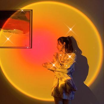 USB Rainbow zachód słońca żarówka jak atmosfera światło nocne do domu do kawy sklep dekoracja ścienna w tle kolorowe romantyczny obraz lampa tanie i dobre opinie HOSPORT atmosferyczne ROUND CN (pochodzenie) NONE Projection Light Lampki nocne Z tworzywa sztucznego Żarówki LED ZAWSZE WŁĄCZONY