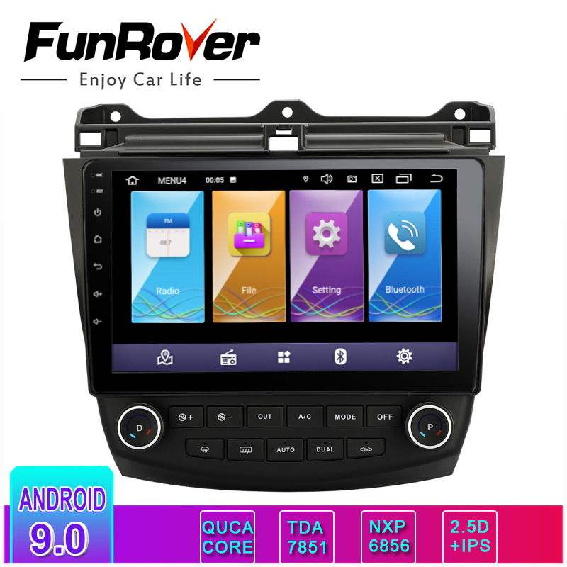 FUNROVER IPS+2.5D Android 9.0 car dvd stereo 10.1 inch Audio Radio player for <font><b>Honda</b></font> <font><b>Accord</b></font> <font><b>7</b></font> 2003-2007 Navigation GPS head unit image