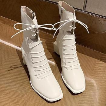 karinluna 2018 plus size 33 45 genuine cow leather boots women shoes square high heels best quality knee high boots shoes woman Elegant Square Toe Shoes Woman Genuine Leather Cross Tied High Heels Ankle Boots For Women Wedding Party Winter Shoes