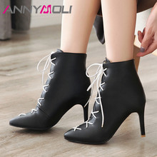 купить ANNYMOLI Winter Ankle Boots Women PU Leather Stiletto Heels Short Boots Lace Up Super High Heel Shoes Lady Autumn Plus Size 3-12 дешево
