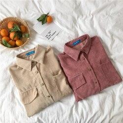 Sztruks bluzka kobiety moda z długim rękawem Preppy szeroki pas skręcić w dół kołnierz Crop kurtka damska Harajuku dorywczo kieszeń kurtka 5